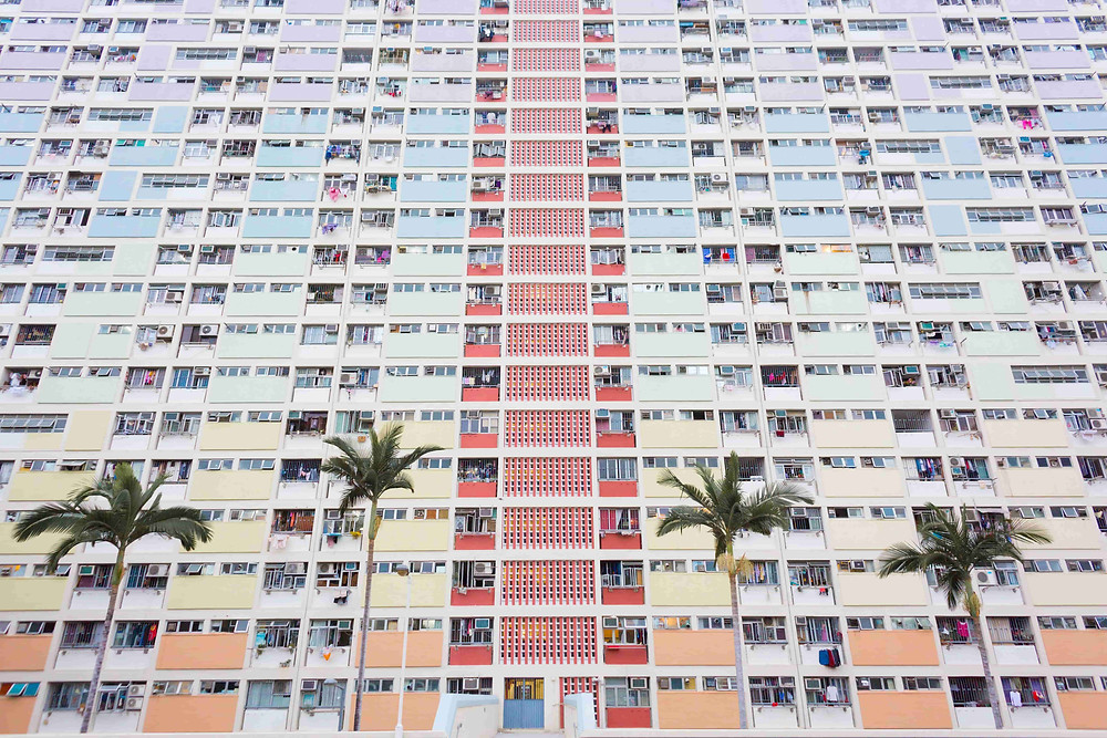 Wedding photoshoot destination: Colorful backdrop of residential flats