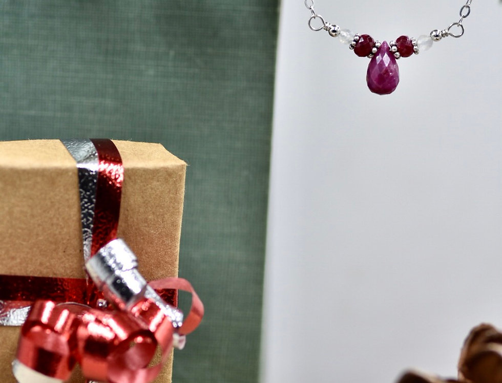 Faceted Ruby Lovely Necklace