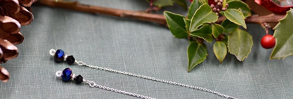 Iridescent Black Crystal Ear Threads