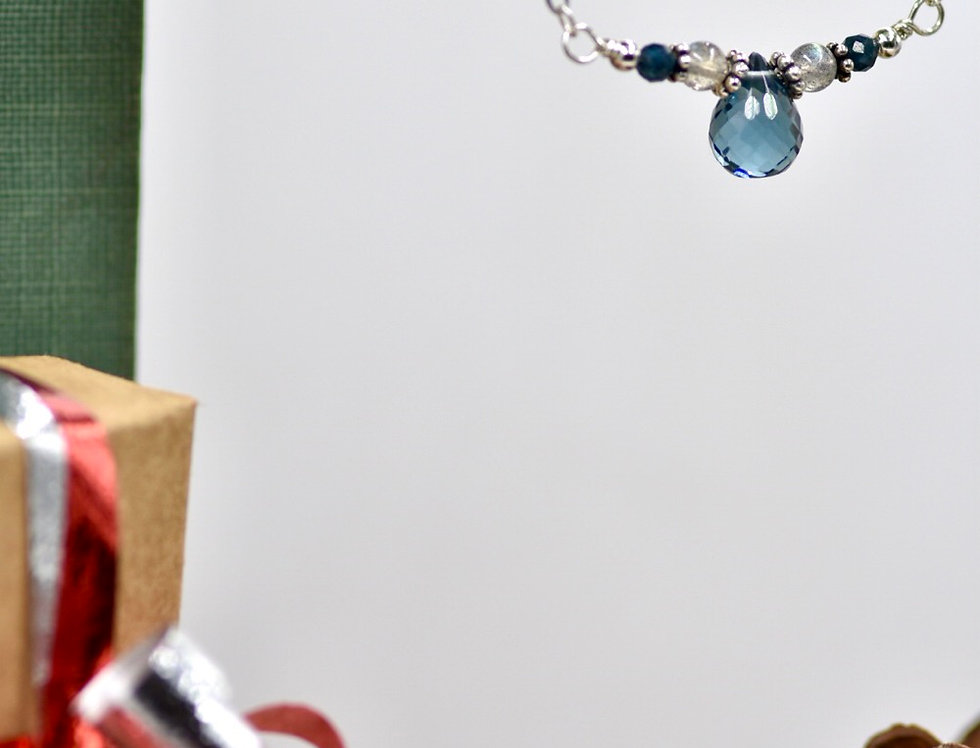 Faceted London Blue Topaz, Labradorite and Blue Tourmaline Lovely Necklace