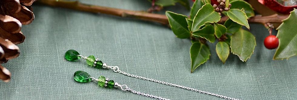 Grassy Green Crystal Teardrop Ear Threads
