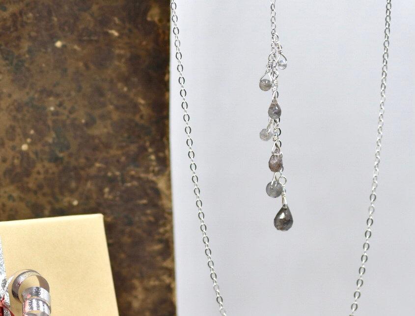 Faceted Labradorite Spiral Lariat Necklace