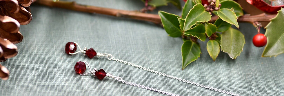 Cranberry Red Faceted Crystal Ear Threads