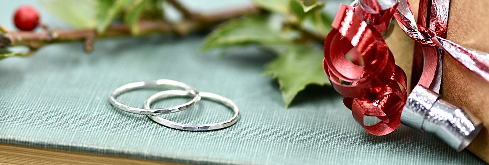 Thin Hammered Sterling Stacker/Midi Ring