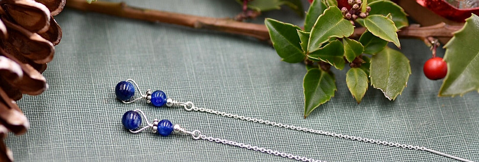Blue Kyanite Rounds Ear Threads
