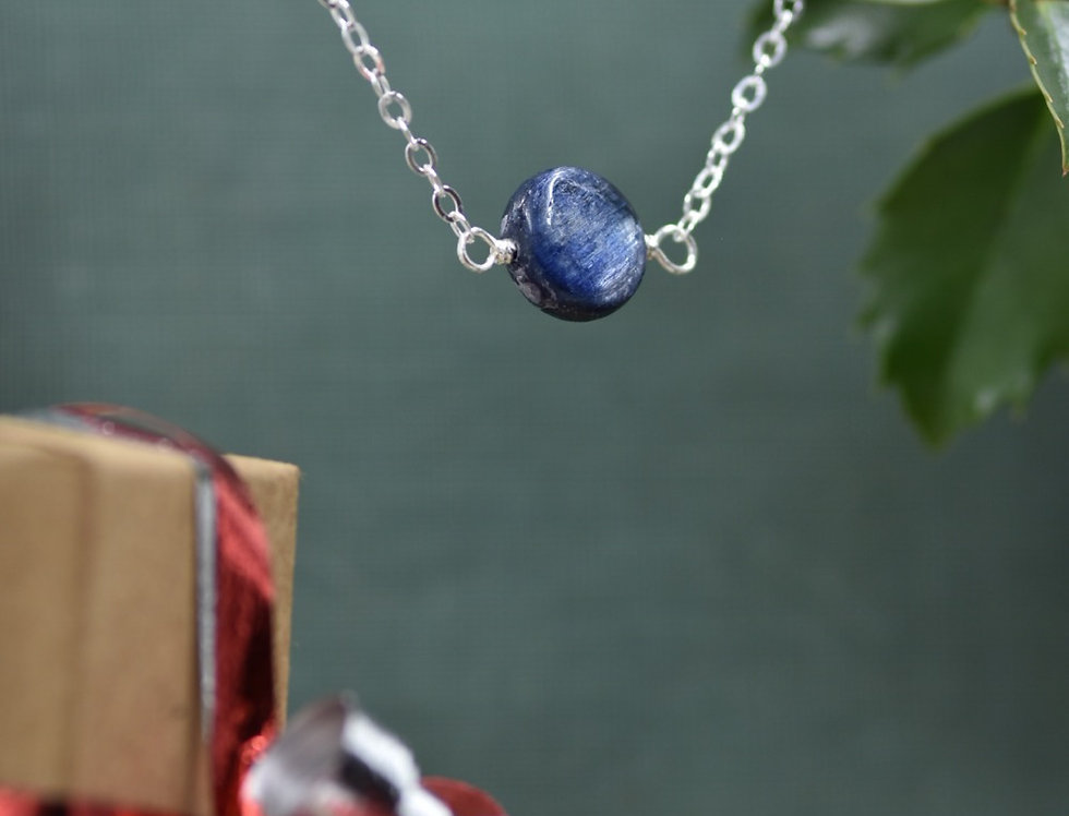 Blue Kyanite Coin Simply Lovely Necklace
