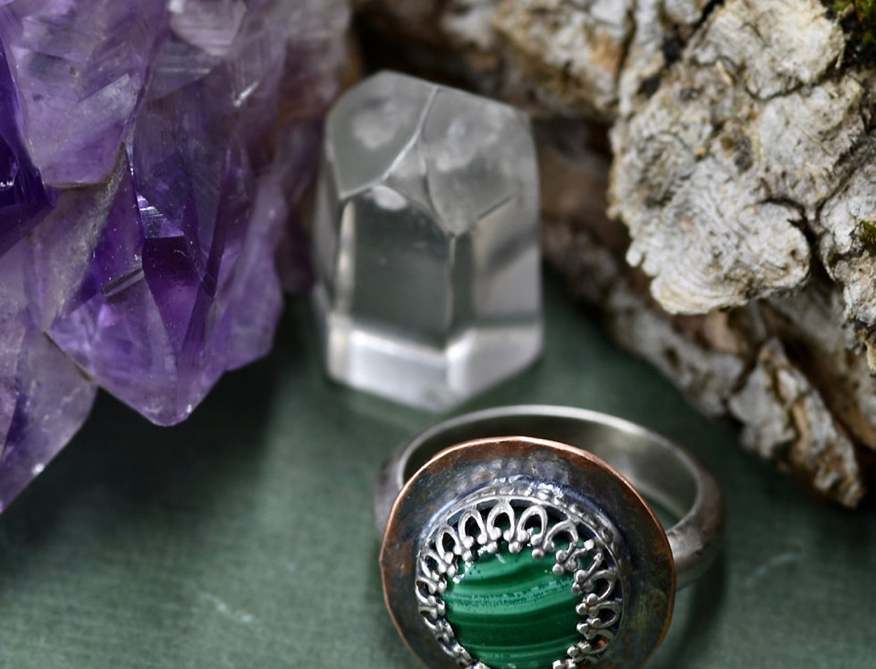 Malachite Round Ring