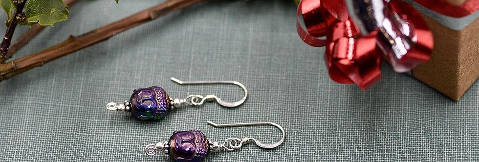 Iridescent Hematite Buddha Earrings