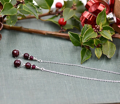 Faceted and Round Garnet Ear Threads