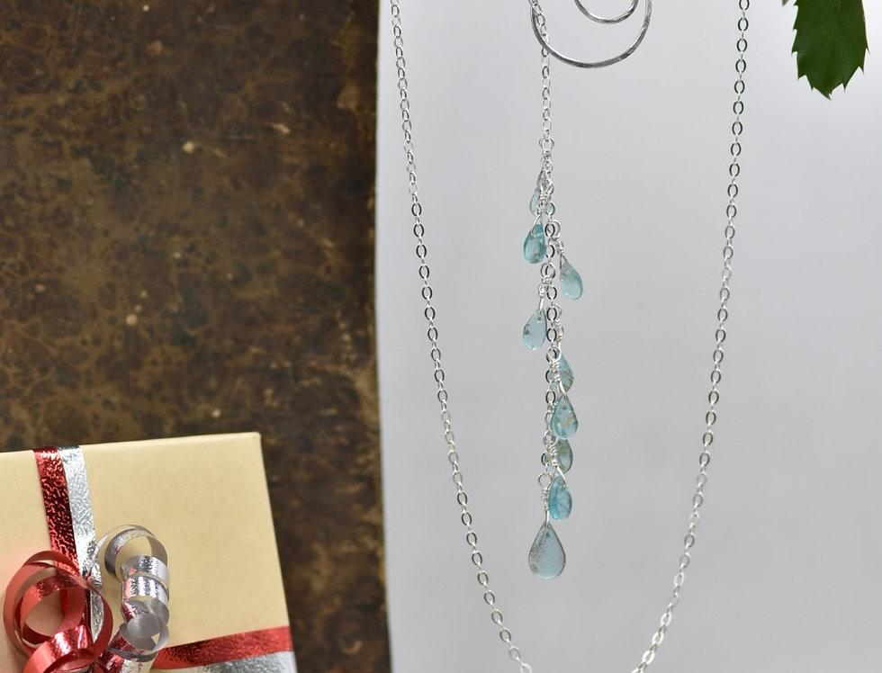 Apatite Teardrop Spiral Lariat Necklace