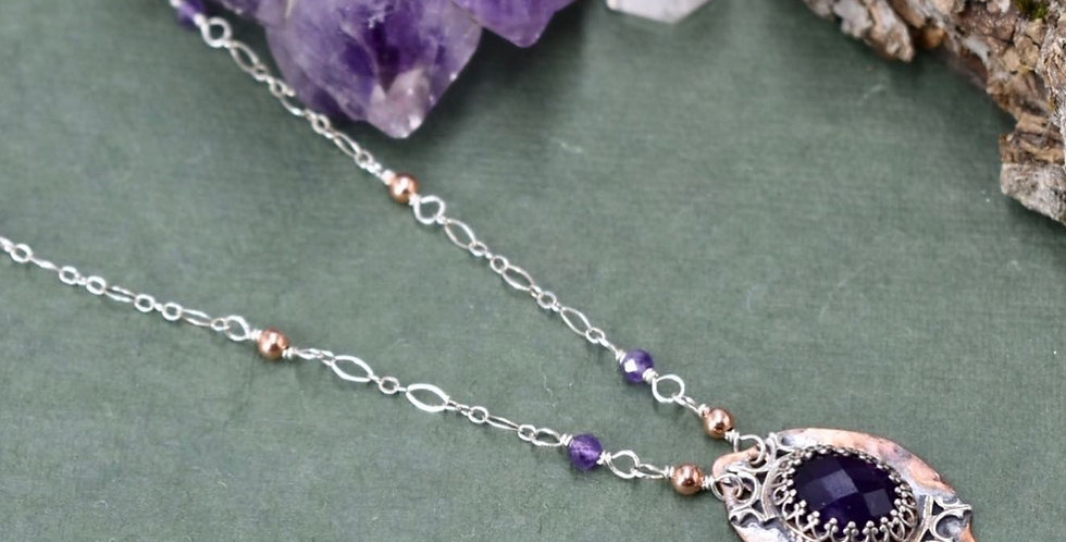 Crowned Faceted Amethyst Station Necklace