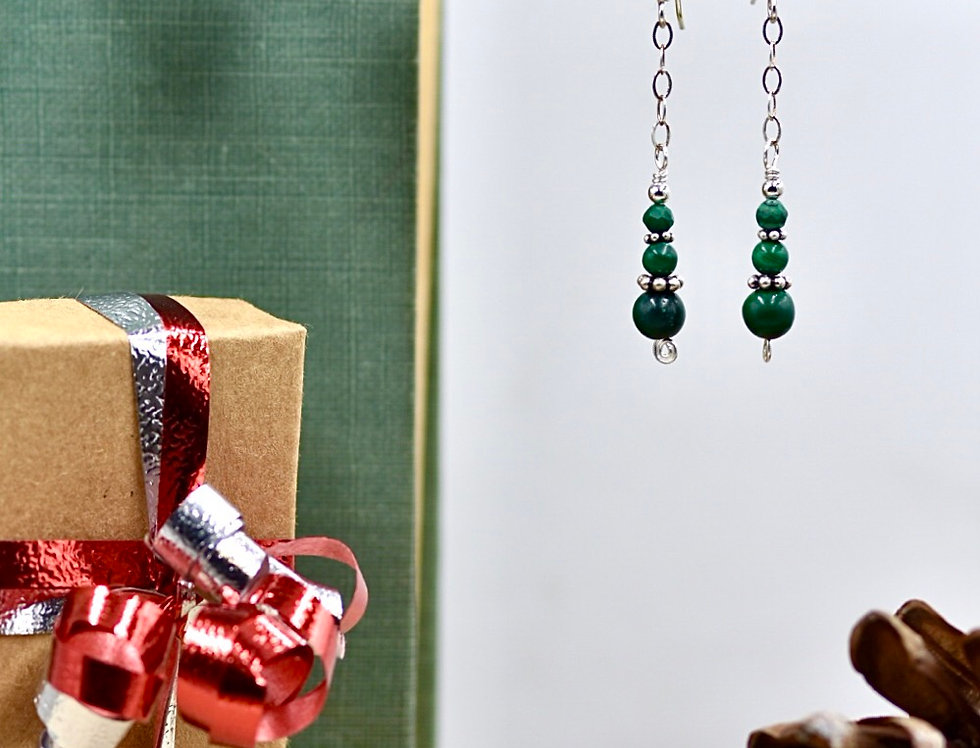 Malachite Chain Earrings