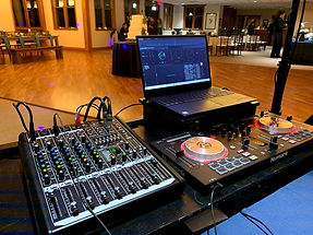 DJ equipment as set up in Beach Park Illinois at Thunderhawk Golf Course