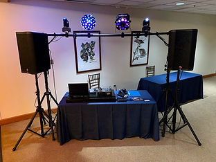 DJ and light set up for a wedding expo event