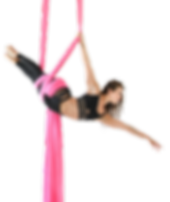 jill Franklin susended in aerial silks at Aerial Physique in LA