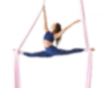 Jill Franklin doing the splits in aerial silks. About Aerial Physique