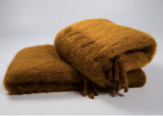 MOHAIR THROW WITH SUEDE STITCHING