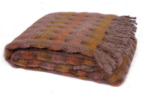 MOHAIR WITH WOOL FRINGE THROW
