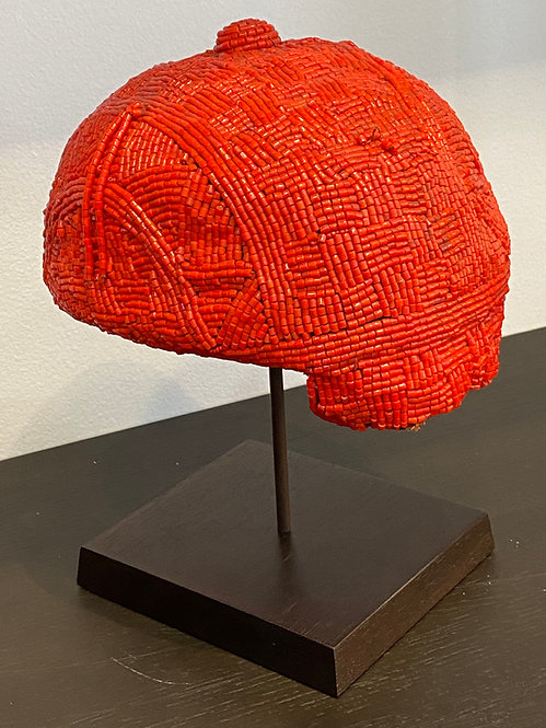 AFRICAN BEADED HAT ON METAL STAND