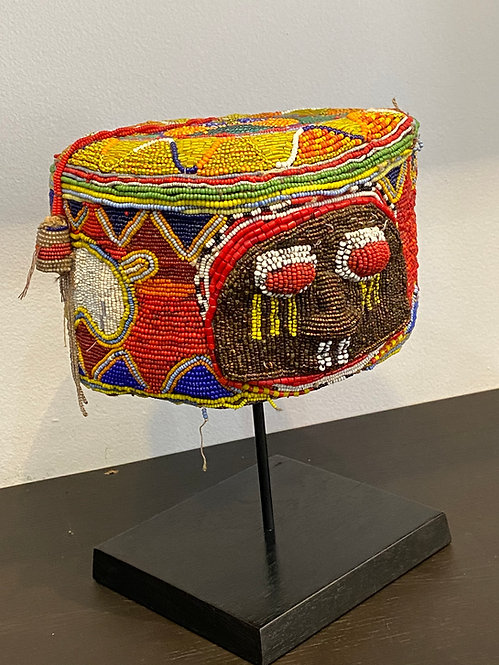 ANTIQUE AFRICAN BEADED HAT ON STAND