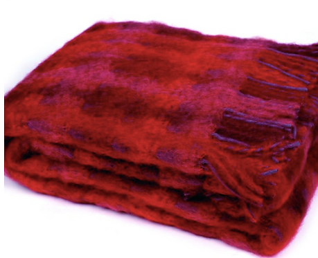 MOHAIR THROW WITH WOOL FRINGE