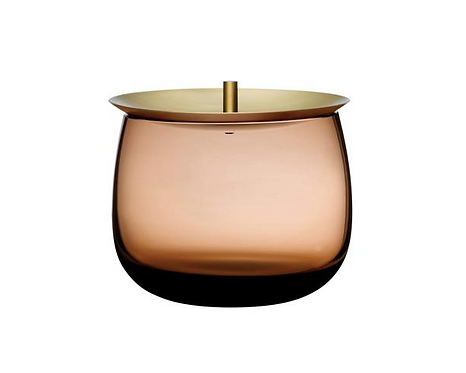 GLASS CONTAINER WITH BRASS LID
