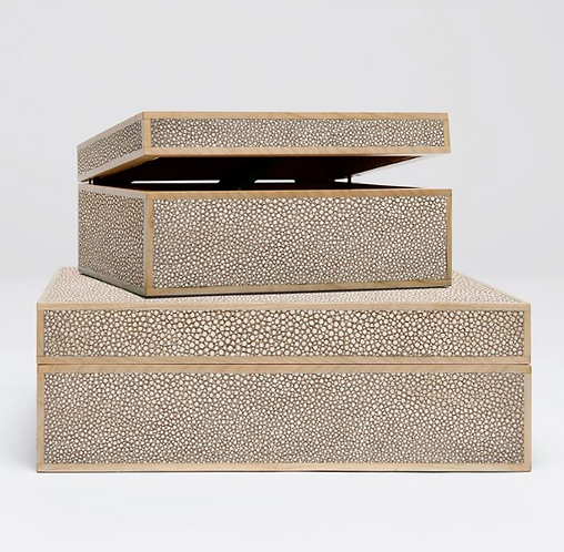 FAUX SHAGREEN BOX -LARGE
