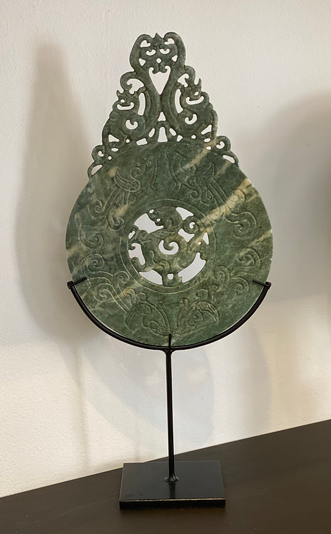 HAND CARVED JADE ON METAL STAND