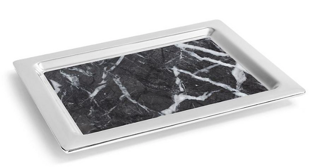 CARRARA MARBLE & CHROME TRAY