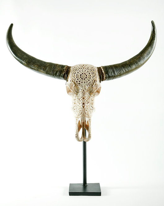 HAND CARVED BULL SKULL ON METAL STAND