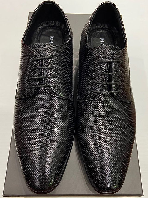 Martino Carolus: Black Leather Lace-Up Dress Shoe
