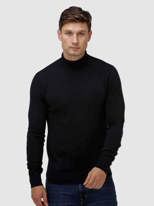 Brooksfield: Roll Neck Sweater - Navy or Black