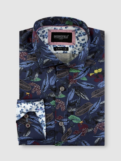 Brooksfield Tonal Hawaiian Print Satin Business Shirt