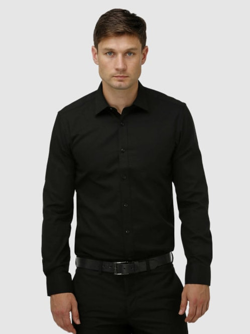 Brooksfield Classic French Cuff Shirt - Black