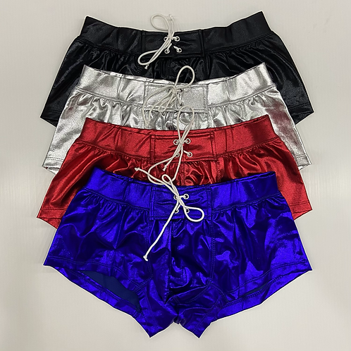 Metallic Lace-Up Party Shorts - 4 Colours