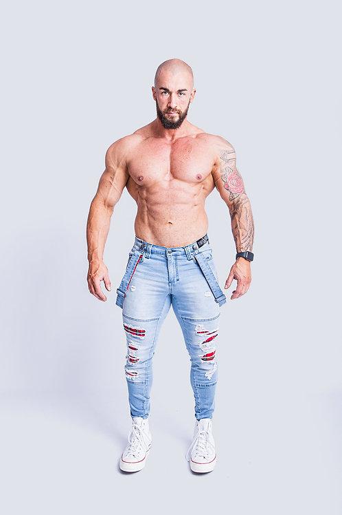 Tigerhorse Lachlan Light Denim Tartan Slim Jean
