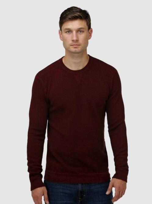 Brooksfield: V Panel Crew Neck Sweater - Wine or Navy