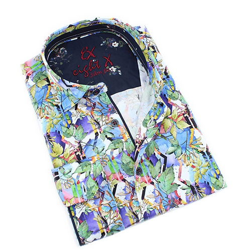 Eight-X Colorful Leaves Print Shirt