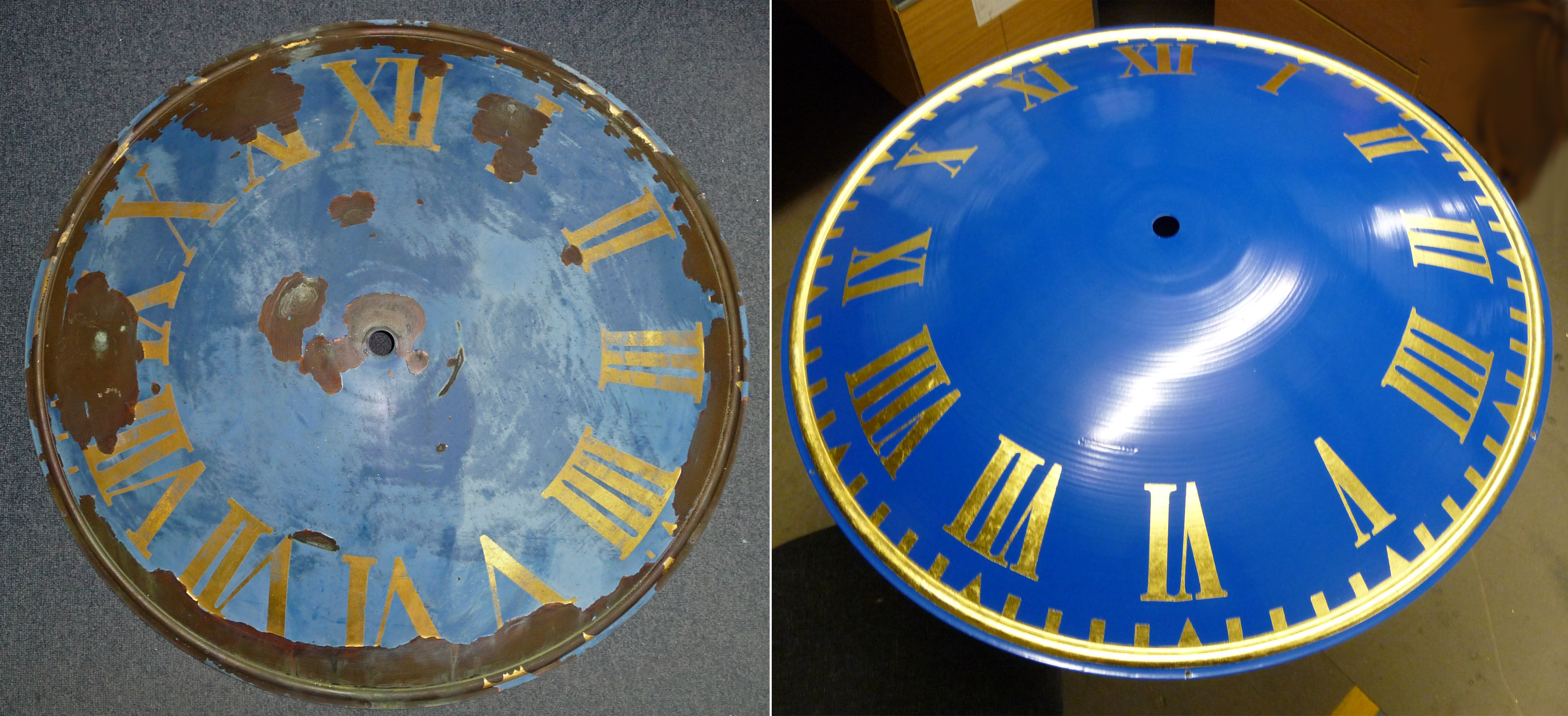Before and after clock dial