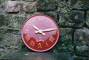Red Roman Exterior Clock for Buildings