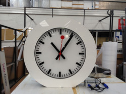 Clock in a shop sign