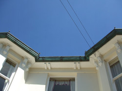 Ogee copper guttering with verdigris