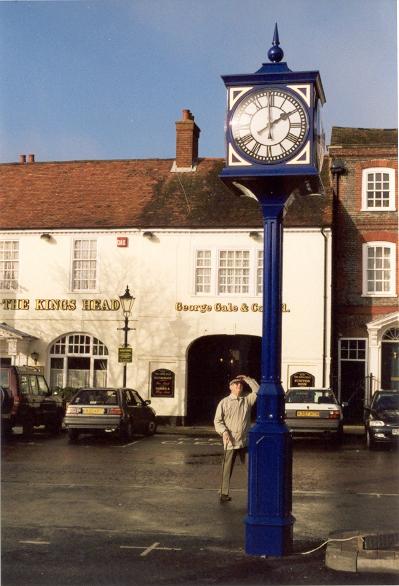 Four sided pillar clock in village