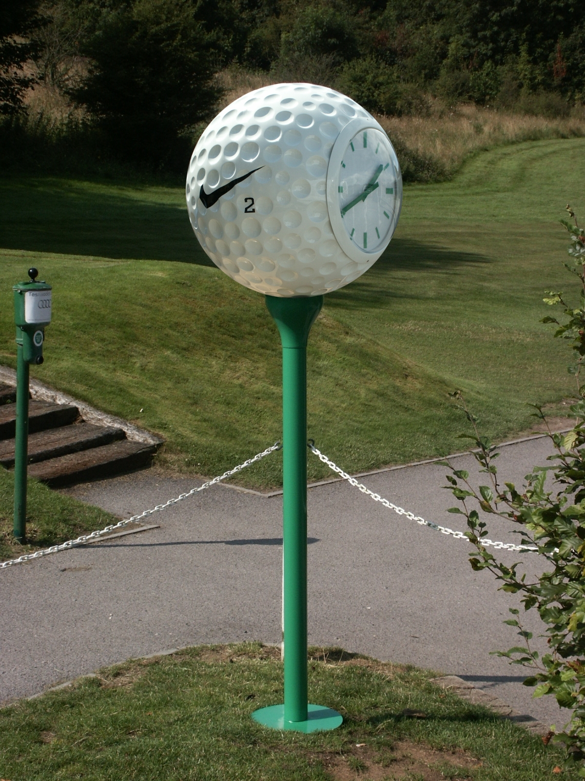 Promotional clock on golf course