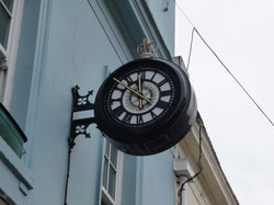 Drum clock with Rotary Club logo