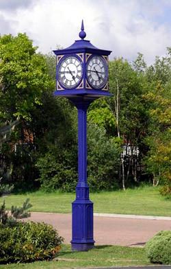 Blue pillar clock