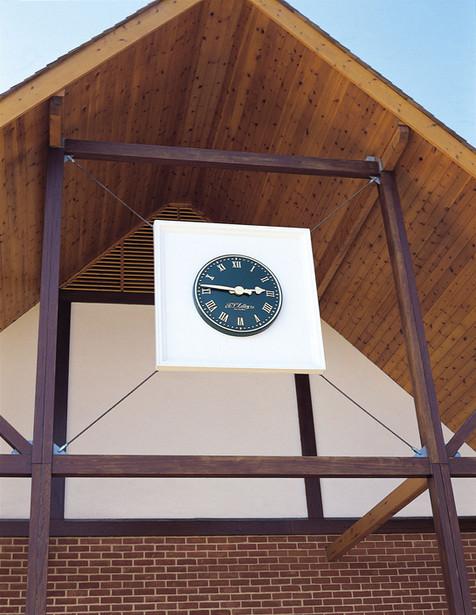 Clock on a plinth