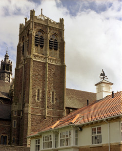 Roof turrets with weathervanes