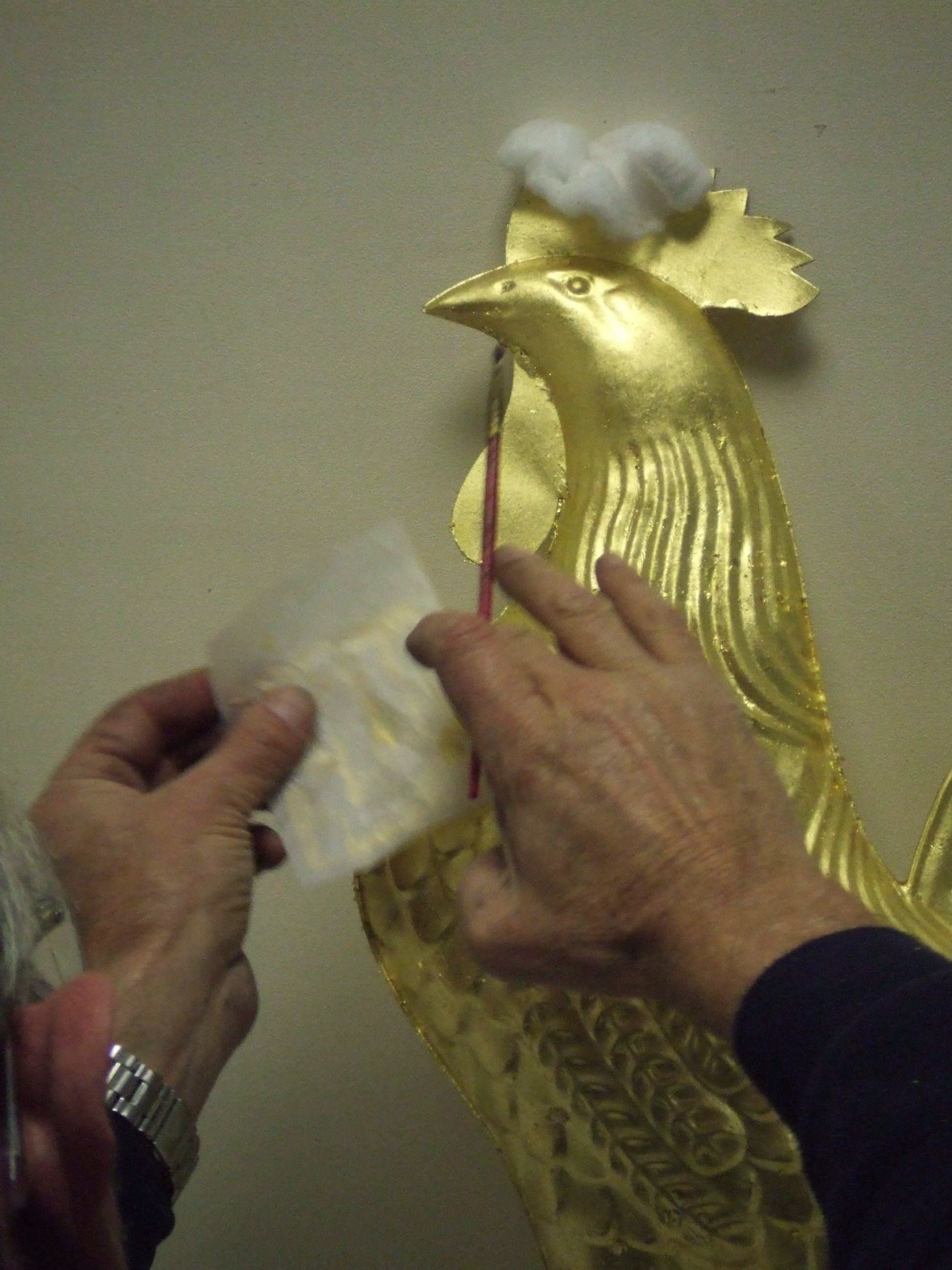 Weathervane - Hand gilding a Rooster