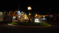 Pillar clock at night